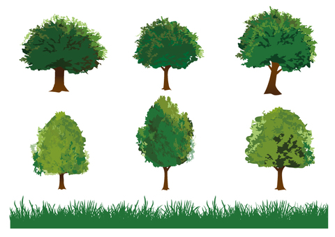 Illustration of trees and grass
