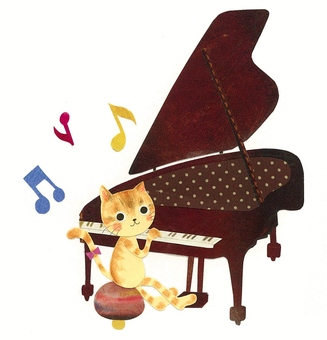 Animals and Musical Instruments Series - Cats and Pianos ~