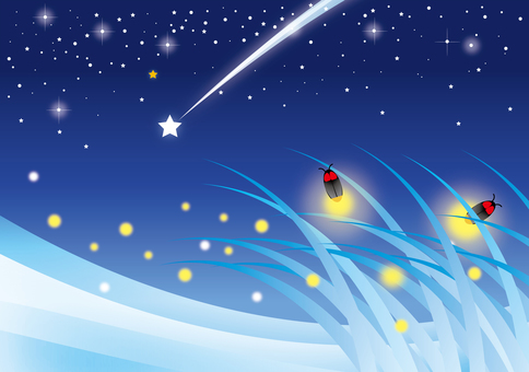 A shooting star on firefly night