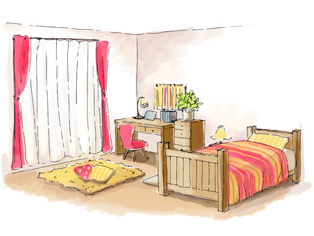 Sketch-like girl room