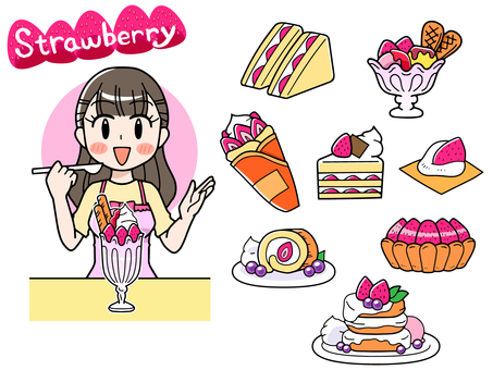Assorted strawberry sweets set