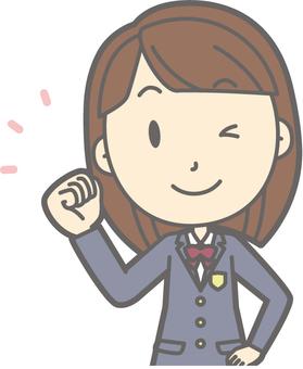 School girl high school winter a - guts wink - bust
