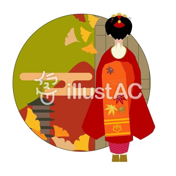 秋の舞妓さんのイラスト
