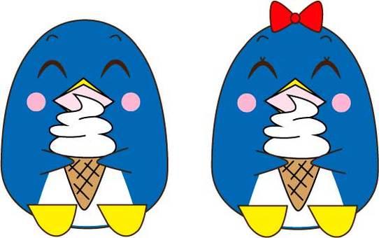 Penguin couple eating soft ice cream