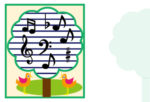 Birds chirping and notes in the music forest