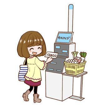 在超市使用自助登記的購物者