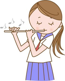 Female student playing flute