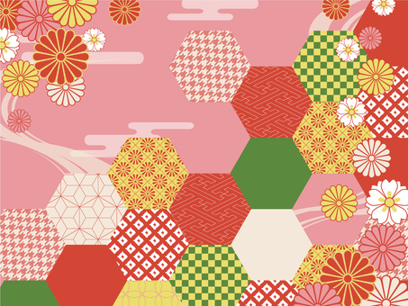 Japanese pattern background (colorful)