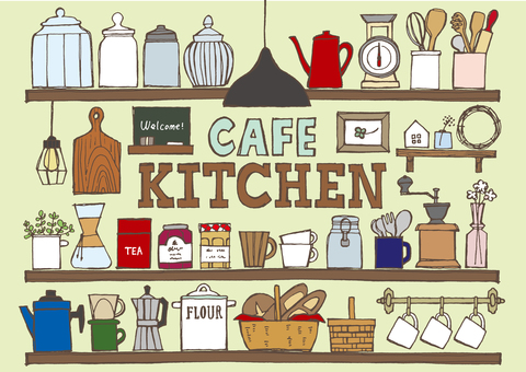 Cafe kitchen shelves hand-painted colorful
