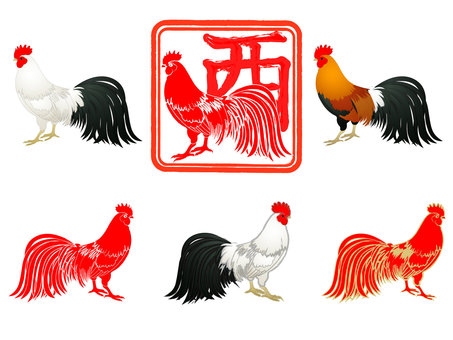 New year's card material Rooster 2