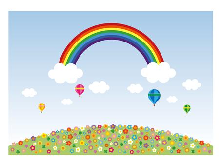 Rainbow · flower garden illustration