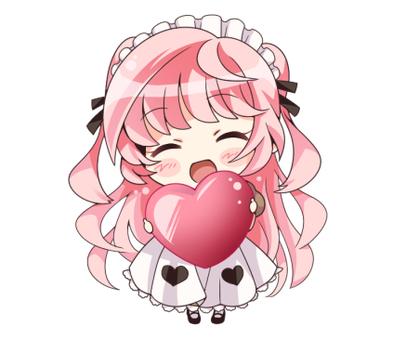 Pink hair maid (heart)