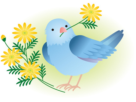 Parakeet, flower and green background