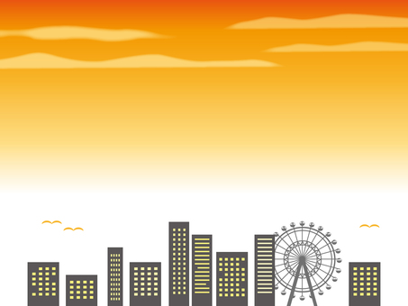 Scenery of sunset building and Ferris wheel