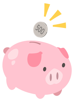 500 yen savings _ pig piggy bank (1 sheet _ 2