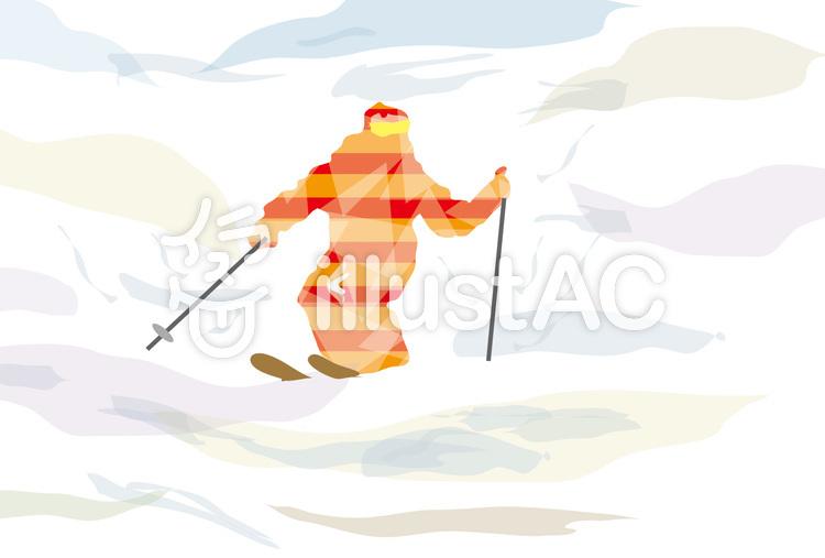 春スキーとゲレンデのスキーヤーイラスト No 54752無料イラストなら