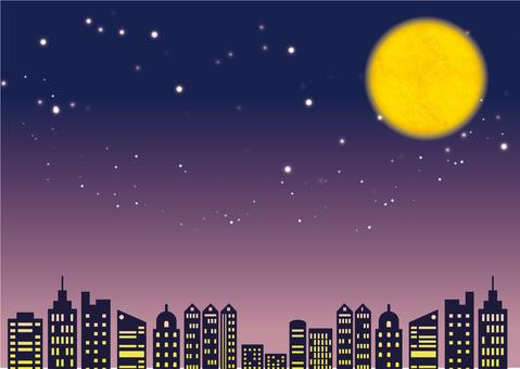 Urban night and full moon