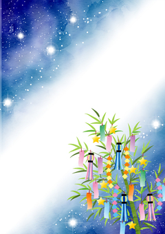 Watercolor style Milky Way and Tanabata decoration, vertical type