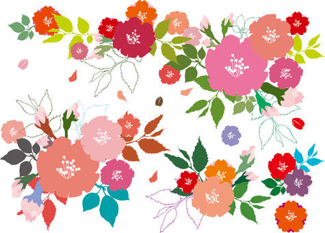 Free illustration Free material Colorful cute flowers