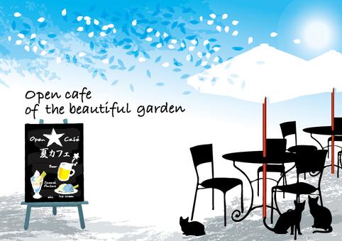 Open cafe White flower garden Summer cafe