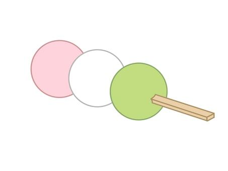 간단한 삼색 경단의 일러스트