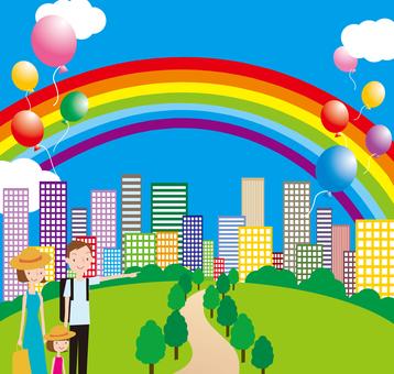 Family park building Town rainbow