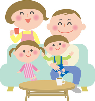 Family 4 people in the living room