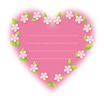 Heart flower decoration (pink)