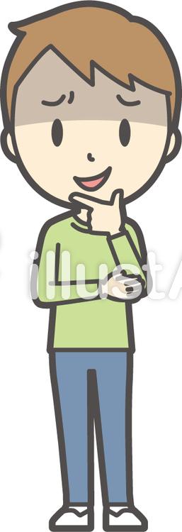 男の子グリーン長袖-145-全身のイラスト