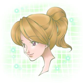 Female ponytail (green)
