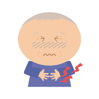Grandfather with a stomach ache