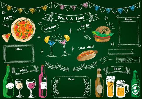 チョークで描いたような食べ物と飲み物