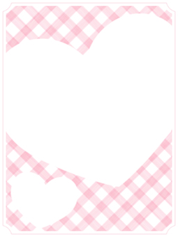Check and Heart Frame 2 Pink