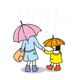 Rain falling parent and child