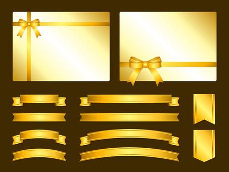 Set of gold ribbon