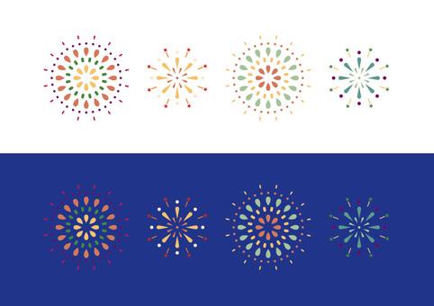 Retro cute fireworks