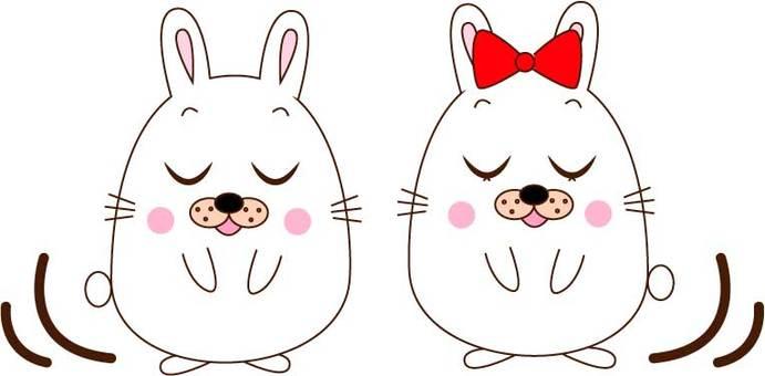 인사하는 토끼 커플