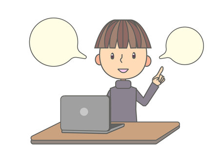 一個人在筆記本電腦上解釋工作