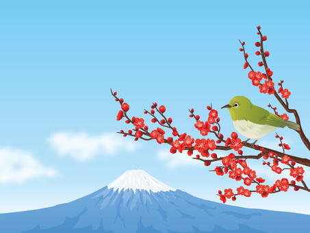 New Year's early spring background of Mt. Fuji, plum and mezzo 02