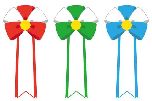 Flower badge (red, green, light blue)