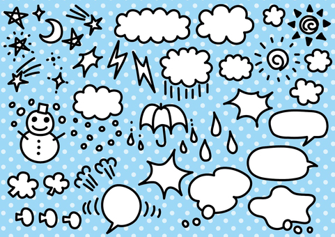 Handwritten weather and balloon material set 01