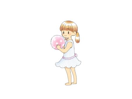 Girl with beach ball
