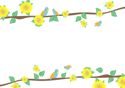 Birds and sunflower frame 6