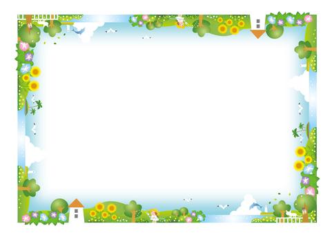 夏天颜色全景景观框架