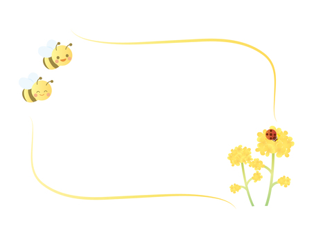 Bee and rape flower frame 1