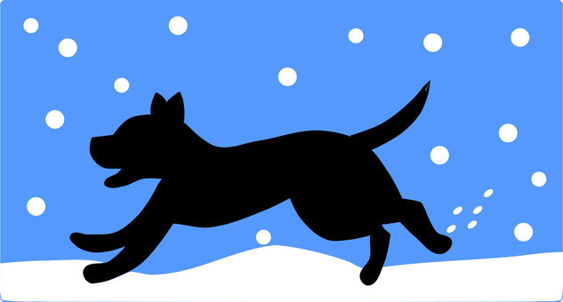 A dog silhouette running in the snow