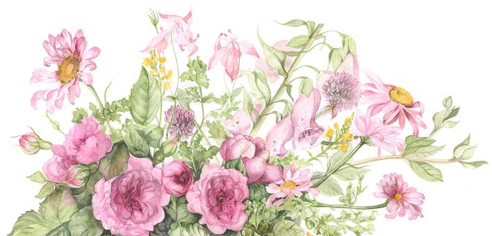 봄 분홍색 꽃들