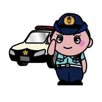 Police car and policeman