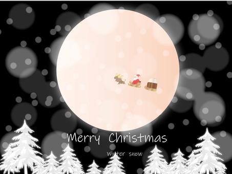 Christmas santa in the snow black sky