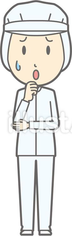 衛生服男-心配-全身のイラスト